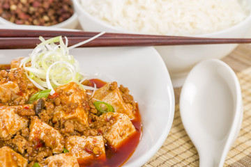 Mapo Tofu - Szechuan tofu and minced pork dish with rice.