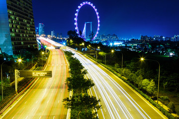 Highway in Singapore at night
