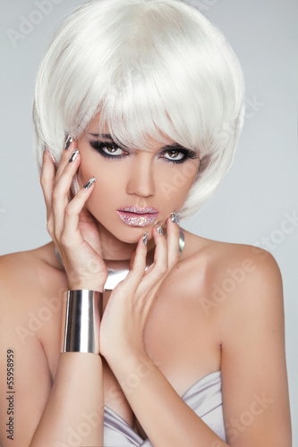 Fashion Blond Girl. Beauty Portrait Woman. White Short Hair. Iso