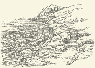 Vector landscape. Steps to rocky shore
