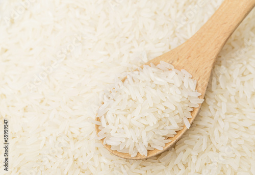 White rice on teaspoon