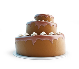 Chocolate cake. 3d Illustrations on a white background