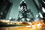 Night lights of the Hong Kong out of focus