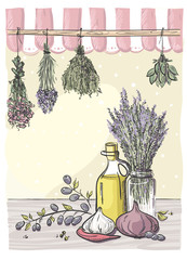 Hand-drawn still life with bindings herbs and olive oil