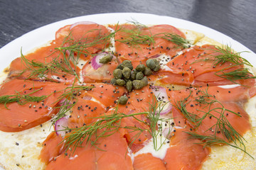Smoked Salmon Pizza Closeup