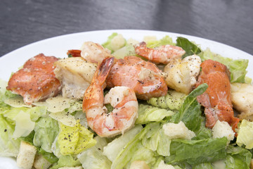 Caesar Salad with Prawns Salmon and White Fish Macro