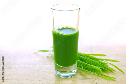 Wheatgrass in glass