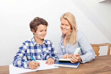 Mother and son studying