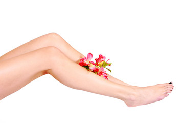 Woman legs after depilation, with sprig of flowers