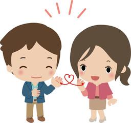 赤い糸で結ばれた若いカップル