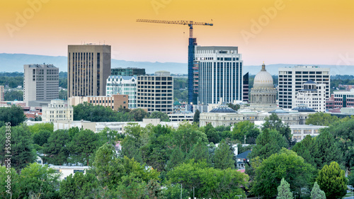 City of Boise skyline with smoky orange sky