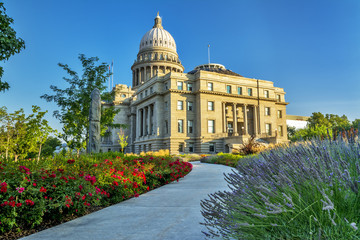 Sidewalk leading to the Idaho Capital building