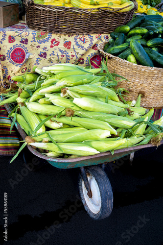 Wheel Barrel filled with fresh sweet corn