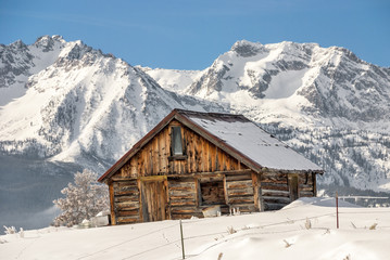 Winter Cabin and Idaho mountains