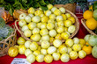 Yellow lemon squash in a basket at a market