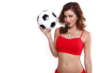 Beautiful Holding a Soccer Ball on White Backgound