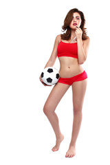 Beautiful Woman Holding a Soccer Ball on White Backgound