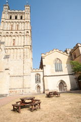 Rear yard of Exeter Cathedral with place to rest.