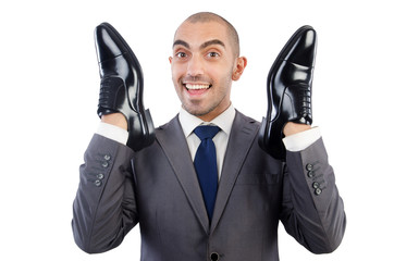 Man with choice of shoes