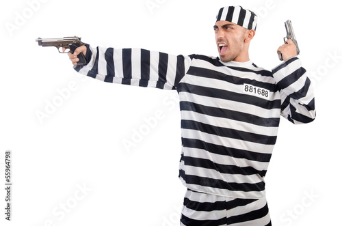 Prisoner with gun isolated on white
