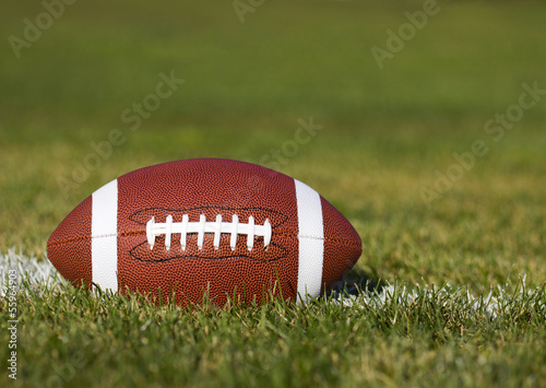 American Football on the field with yard line and green grass