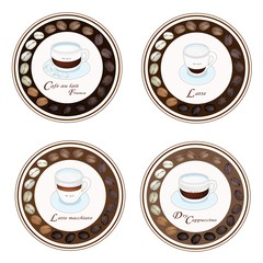 Four Kind of Coffee Beverage in Retro Round Label