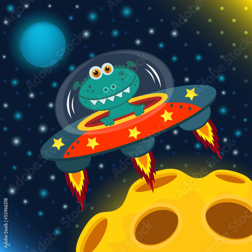 UFO alien, flying saucer  - vector illustration