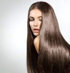 Long Healthy Straight Hair. Model Brunette Girl Portrait