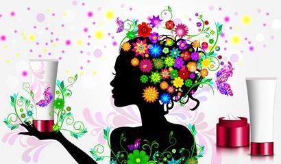Девушка в цветах с натуральной косметикой
