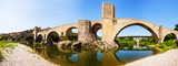 Panoramic view of  old bridge over Fluvia river in Besalu