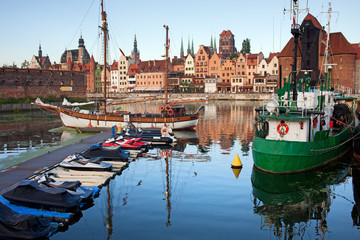 Old Town of Gdansk Skyline and Marina