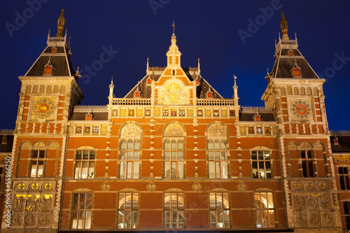 Amsterdam Central Train Station at Night
