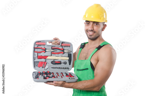 Man with toolkit isolated on the white