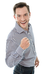 Erfolgreicher Kaufmann mit Hemd - lachend und isoliert