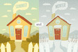 Summer and winter. Vector illustration.