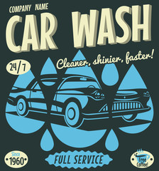 Retro car wash sign. Vector illustration.