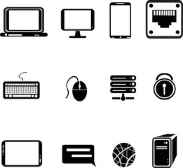 set of computer equipment icons