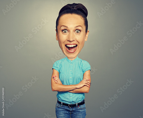 amazed woman with big head