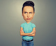 girl with big head expressing dissatisfaction
