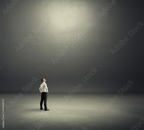 man looking at empty copyspace