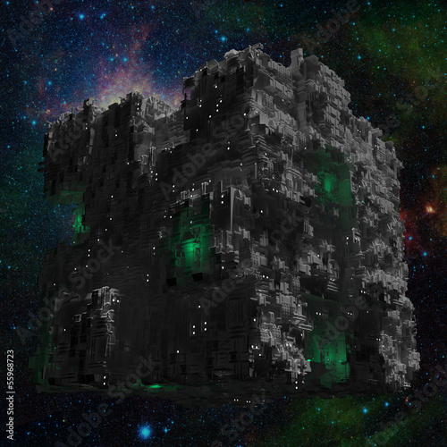 Space ship cube with galaxy background