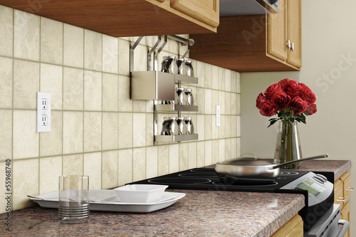 Kitchen interior closeup with red roses