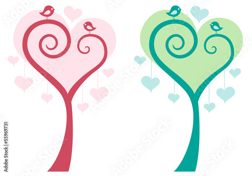 heart tree with cute birds, vector