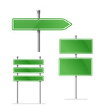 Blank green metal arrow boards collecion isolated on white