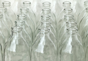 Group of empty glass bottles