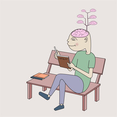 A man reading book and the brain growing