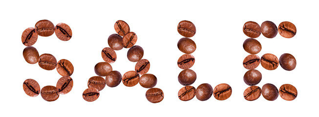 The word SALE from coffee beans