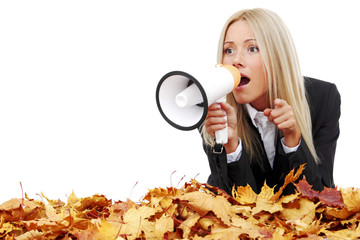 autumn businesswoman with megaphone