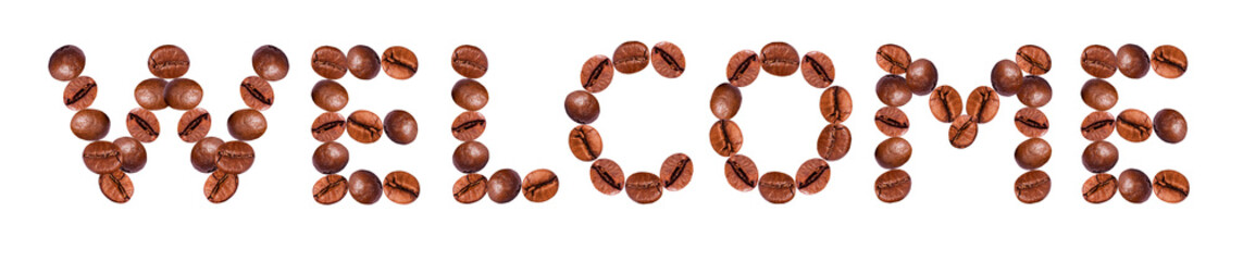 word WELCOME from coffee beans