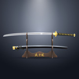 Realistic Samurai Sword and Scabbard on the Stand.